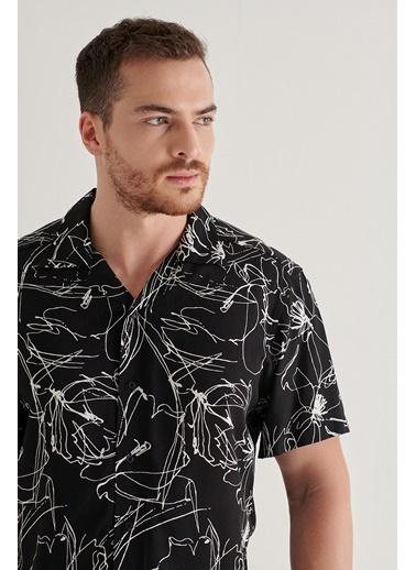 Avva Erkek  Baskılı Gömlek A11Y2149 Siyah